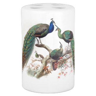 Vintage Peacock Birds Wildlife Animals Bath Set
