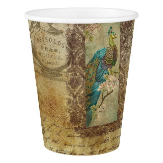 Vintage Peacock Brown and Blue Party Paper Cup