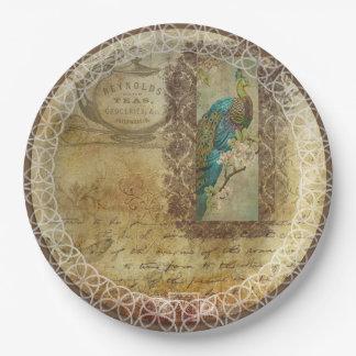 Vintage Peacock Burlap Lace designs Paper Plates