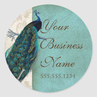 Vintage Peacock Business Identification Stickers