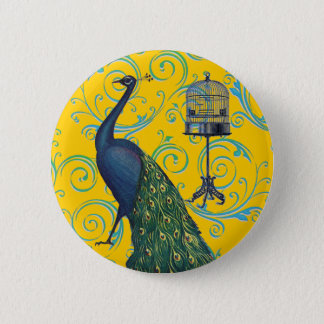 Vintage Peacock & Cage 2 Inch Round Button
