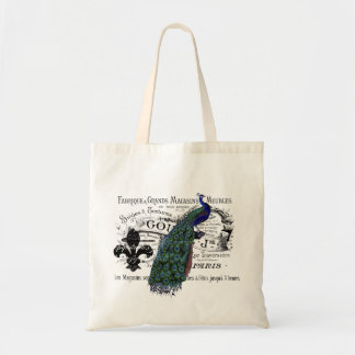 Vintage Peacock Collage Tote Bag