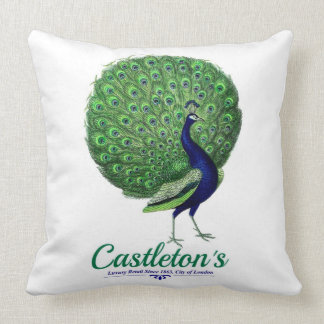 Vintage peacock design for old luxury London store Throw Pillow