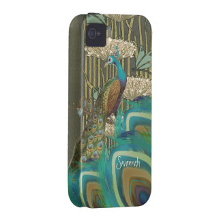 Vintage Peacock Dragonflies and Lilypads Case-Mate iPhone 4 Cover