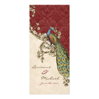 Vintage Peacock & Etchings Wedding Invitation Personalized Rack Card