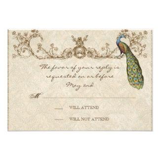 Vintage Peacock Etchings Wedding RSVP Card
