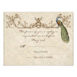 Vintage Peacock Etchings Wedding RSVP Card Invites