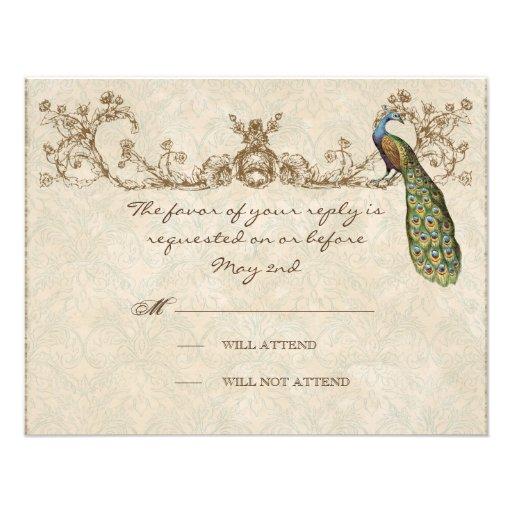Vintage Peacock & Etchings Wedding RSVP Card Invites