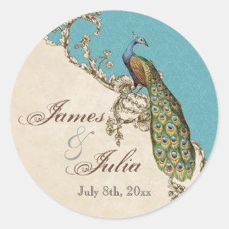 Vintage Peacock & Etchings  Wedding Seal Round Sticker