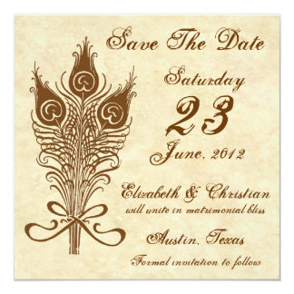"""Vintage Peacock Feather Bouquet Save the Date 5.25"""" Square Invitation Card"""