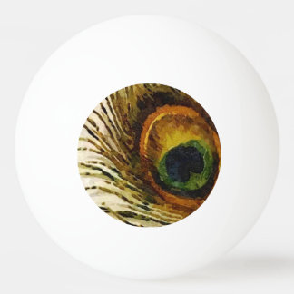 Vintage Peacock Feather Ping Pong Ball