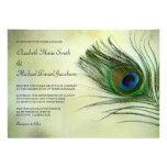 Vintage Peacock Feather Wedding Invitations Custom Announcement