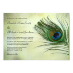 "Vintage Peacock Feather Wedding Invitations 5"" X 7"" Invitation Card"