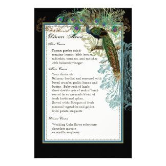 Vintage Peacock, Feathers, Dinner Menu Sheet