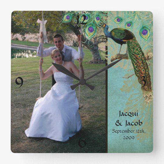 Vintage Peacock Feathers Etchings - Wedding Photo Clocks