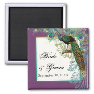 Vintage Peacock, Feathers n Etchings Save the Date Square Magnet
