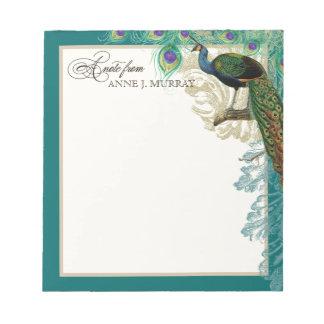 Vintage Peacock, Feathers n Etchings Swirl Antique Notepad