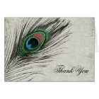 Vintage Peacock Feathers Thank You Card