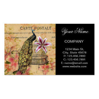 vintage peacock floral business card template