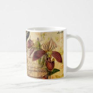 vintage peacock floral coffee mugs