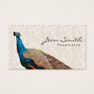 Vintage Peacock Floral Translator Business Card