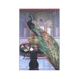Vintage Peacock Image Canvas Wrap