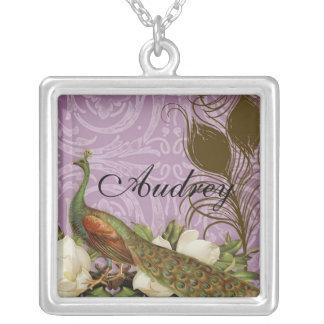 Vintage Peacock & Magnolias Monogram Necklace