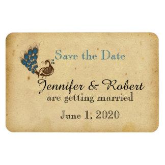 Vintage Peacock Monogram Wedding Save the Date Rectangular Photo Magnet