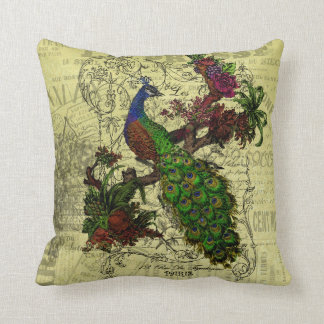 Vintage Peacock on Branch Apparel and Gifts Throw Pillow