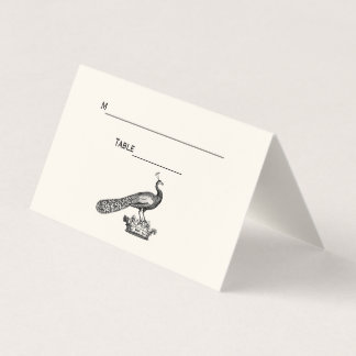 Vintage Peacock on Crown Place Escort Card Ivory