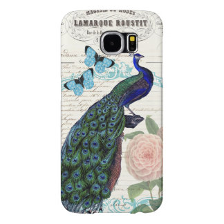 Vintage Peacock on French Ephemera Collage Samsung Galaxy S6 Cases