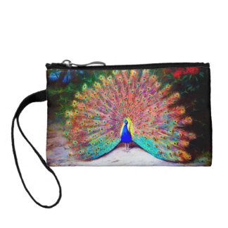 Vintage Peacock Painting Coin Wallets