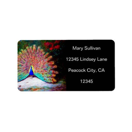 Vintage Peacock Painting Label