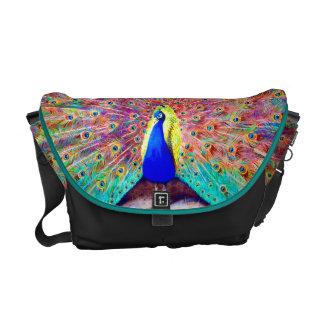Vintage Peacock Painting Messenger Bags