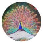 Vintage Peacock Painting Plate