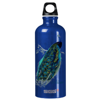 Vintage Peacock, Personalized Water Bottle