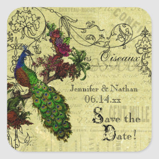 Vintage Peacock Save the Date Stickers