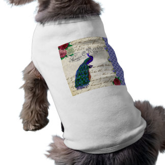Vintage Peacock Song Collage Doggie Shirt