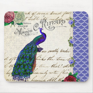 Vintage Peacock Song Collage Mousepad