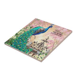 Vintage Peacock Squares Ceramic Tile