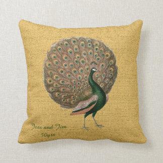 Vintage Peacock Wedding Anniversary 40th 50th 60th Throw Pillow