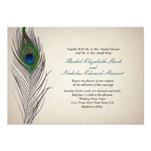 Painted Couple Peacock Wedding Gifts Unique Delicate Home: Vintage Peacock Wedding Invitation