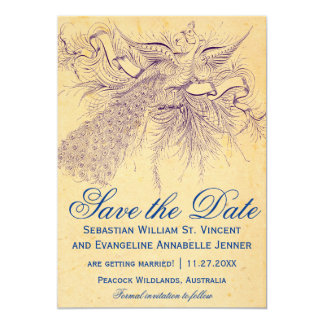 """Vintage Peacock Wedding Save the Date Cards 5"""" X 7"""" Invitation Card"""