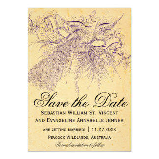 "Vintage Peacock Wedding Save the Date Cards 5"" X 7"" Invitation Card"