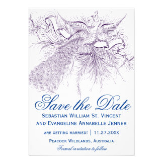 Vintage Peacock Wedding Save the Date Cards