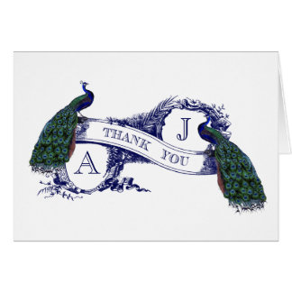 Vintage Peacock Wedding Thank You Card