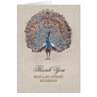 vintage peacock wedding thank you cards