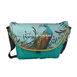 Vintage Peacock You Choose Colors Courier Bags