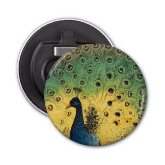 Vintage peacocks and a cat button bottle opener