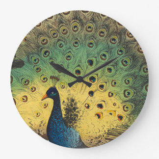 Vintage peacocks and a cat large clock